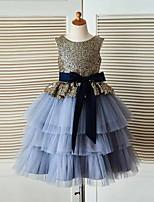 A-line Floor-length Flower Girl Dress - Tulle / Sequined Sleeveless Jewel with Sash / Ribbon