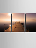 E-HOME® Stretched Canvas Art Sunset Lake Scenery Decoration Painting  Set Of 3