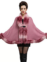 Women's Going out / Party/Cocktail Chinoiserie / Sophisticated Regular Cloak / CapesPatchwork Shawl Fur Coat