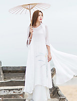 Ramie Cotton Women's Casual/Daily Simple / Chinoiserie Loose DressFloral V Neck Maxi  Sleeve White Linen