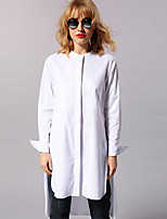 NEW BEFORE  Women's Casual/Daily Simple ShirtSolid Stand Long Sleeve White