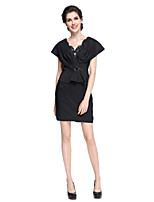 Sheath / Column Mother of the Bride Dress - Elegant Short / Mini Short Sleeve Satin with Beading