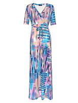 Ample Robe Femme Grandes Tailles Bohème,Imprimé Col en V Maxi Manches Courtes Rose Polyester Printemps / Automne Taille Haute Elastique