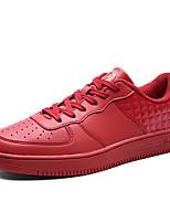 Men's Sneakers Spring / Fall Comfort PU Casual Flat Heel  Black / Red / White Sneaker