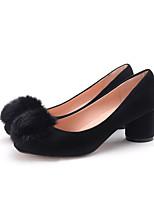 Черный / Серый-Женский-На каждый день-Дерматин-На толстом каблуке-На каблуках / С круглым носком / С закрытым носком-Обувь на каблуках