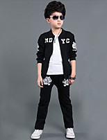 Boy's Sports Print Clothing SetCotton Winter / Fall Black / Gray