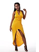 Dámské Sexy / Jednoduché Klub Bodycon Šaty Jednobarevné,Bez rukávů Lodičkový Asymetrické Žlutá Polyester Léto Mid Rise Lehce elastické