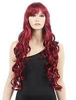 Women Cheap Synthetic Wigs High Quality Fashion Fluffy Fancy Wine Red Long Full Wig Wavy Hair Curl Cosplay Wigs