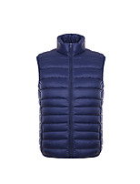 Men's Regular Down Light Vest Coat,White Duck Down Solid Sleeveless Zipper