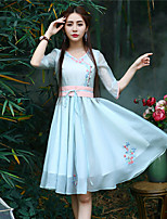 Our Story Women's Going out Chinoiserie Sheath DressEmbroidered Sweetheart Knee-length  Length Sleeve Blue