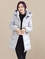 Women's Solid Blue / Pink / Black / Gray Padded Coat,Simple Hooded Long Sleeve