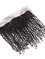 Black 4x13 Closure Kinky Curly Human Hair Closure Medium Brown Swiss Lace about 50g gram Average Cap Size