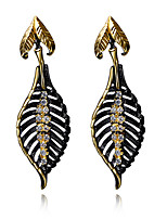 Bohemian Vintage Black Gold Plated Leaves earrings For women Female Fashion Dangle long earrings Accessories brincos