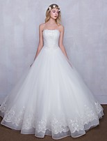 A-line Wedding Dress Floor-length Strapless Lace with Beading