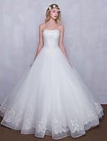 A-라인 웨딩 드레스 바닥 길이 끈없는 스타일 레이스 와 비즈