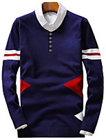 Men's Solid Casual / Sport PulloverCotton / Polyester Long Sleeve Blue / Red / Gray