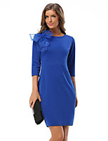 Women's Plus Size / Work Sophisticated Sheath DressSolid Knee-length  Sleeve Blue / Red Polyester Spring / Fall