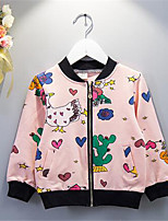 Girl's Casual/Daily Floral Jacket & Coat,Cotton Spring / Fall Pink
