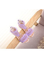 Girl's Sandals Summer Mary Jane PU Outdoor Flat Heel Others Blue Pink Beige Others