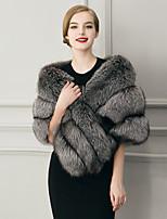 Женский На выход / На каждый день / Нарядная Однотонный Пальто с мехом V-образный вырез,Простое / Уличный стиль Зима Серый Без рукавов,