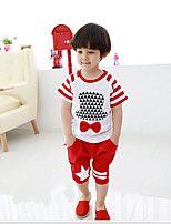 Boy's Casual/Daily Print Clothing SetCotton Summer Black / Red