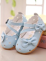 Girl's Flats Spring Summer Boat PU Outdoor Dress Flat Heel Bowknot Blue Pink White Walking