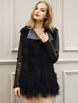 Women's Plus Size / Casual/Daily Street chic Fur CoatPatchwork Notch Lapel Long Sleeve Winter Black Faux Fur / PU Thick