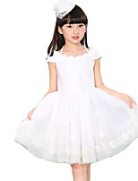 Girl's Casual/Daily Solid DressCotton Summer White