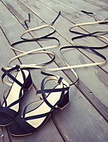 Women's Sandals Summer Ankle Strap Fleece Casual Chunky Heel Lace-up Black / Camel Others