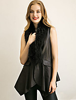 Women's Plus Size / Casual/Daily Simple Trench CoatSolid Shawl Lapel Sleeveless Winter Black Faux Fur / PU Medium