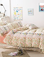 Thick Warm Flannel 4 Piece Quilt Kit Princess Pastoral Style Sheets  Bedding Set