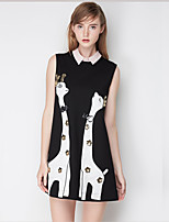 J&D  Women's CuteA Line DressAnimal Print Shirt Collar Mini Sleeveless Black Polyester Summer Mid Rise Thin
