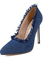 Women's Heels Slip-on Denim lining Grind Edge Pointed Toe Stiletto Heels/Pumps Dress/Casual/ Shoes Blue