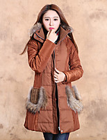 Our Story Women's Long Padded CoatBoho Going out Solid-Polyester Cotton Long Sleeve Hooded Brown