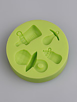 Baby's bottle and pacifier shape silicone mold for baby birthday cake fondant cake