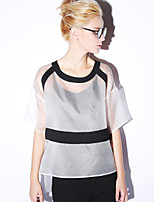 NEW BEFORE  Women's Going out Simple Summer BlouseColor Block Round Neck Length Sleeve