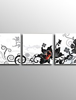 Handgemalte Abstrakt / Stillleben / Blumenmuster/Botanisch Ölgemälde,Modern / Klassisch / Europäischer Stil Drei Paneele Leinwand