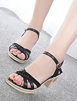 Women's Sandals Summer Comfort PU Casual Chunky Heel Crystal / Buckle Black / Blue / Brown / Camel Others