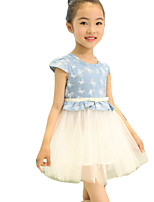 Girl's Going out Print Dress / Jeans,Others Summer Pink / White