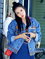 Whisper Wheat Women's Going out /Vintage Fall Denim JacketsEmbroidered Shirt Collar Long Sleeve Blue Cotton Medium