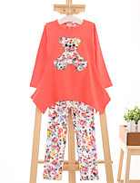 Girl's Casual/Daily Print Clothing SetCotton Spring / Fall Red / White