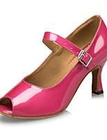 Customizable Women's Dance Shoes Latin / Salsa Sandals / Heels Customized Heel Professional / Indoor Pink
