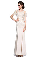 Trumpet / Mermaid Mother of the Bride Dress - See Through Ankle-length Short Sleeve Charmeuse with Lace