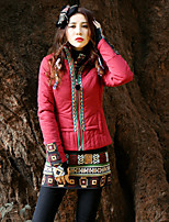 Our Story Women's Short Padded CoatBoho Going out Paisley-Cotton / Polyester Cotton Long Sleeve Crew Neck Red