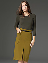 CELINEIA Women's Work Simple Fall Set SkirtSolid Round Neck Long Sleeve Green