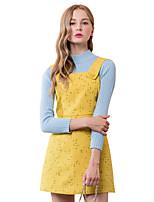 Damen Hülle Kleid-Ausgehen Einfach Druck Gurt Übers Knie Ärmellos Gelb Polyester Herbst Hohe Hüfthöhe Unelastisch Mittel