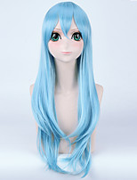 Fashion Long Straight Wigs Bule Color Synthetic Cosplay African American Wigs