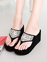 Women's Slippers & Flip-Flops Summer Cowboy / Western Boots PU Casual Wedge Heel Others Black White Other