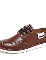 Черный / Синий / Коричневый / Хаки-Мужской-На каждый день-Дерматин-На плоской подошве-Удобная обувь-Туфли на шнуровке