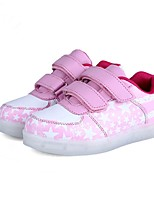 Girl's LED'S Shoes Sneakers Comfort / Round Toe / Flats Athletic / Casual Flat Heel Magic Tape / LED Dark Blue / Fuchsia